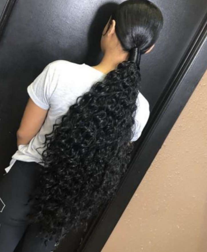 Caliente nuevo pelo de la onda profunda brasileña paquetes Extened cola de caballo de moda del peinado cola de caballo 100% cabello humano envuelve la cola de caballo para women140g negro