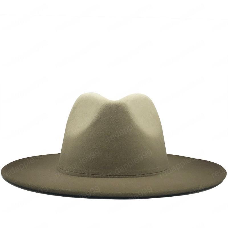 Kadınlar Erkekler Yün Vintage Trilby Fedora Şapka ile Geniş Brim Gentleman Şık Gradient Renk İçin Lady Kış Sonbahar Caz Caps Keçe