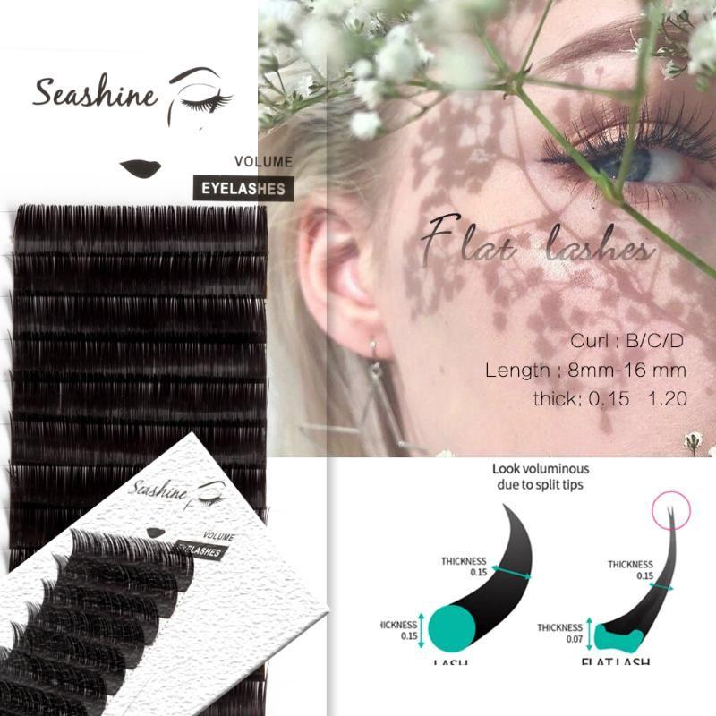 Seashine falso visone ciglia piatto Lashes individuale estensione del ciglio di estensioni Volume ellisse Naturale Breve Split-tips