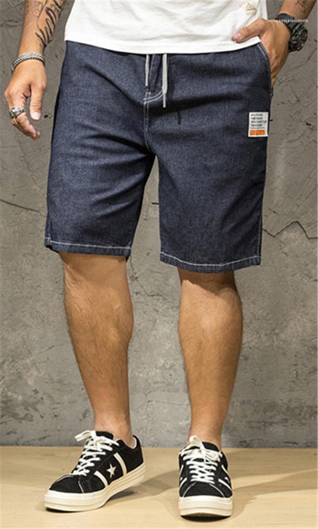 حجم قصيرة الرجال جينز فضفاض مصمم أزرق فاتح الرجال السراويل عارضة الأزياء الرباط ذكر جينز زائد