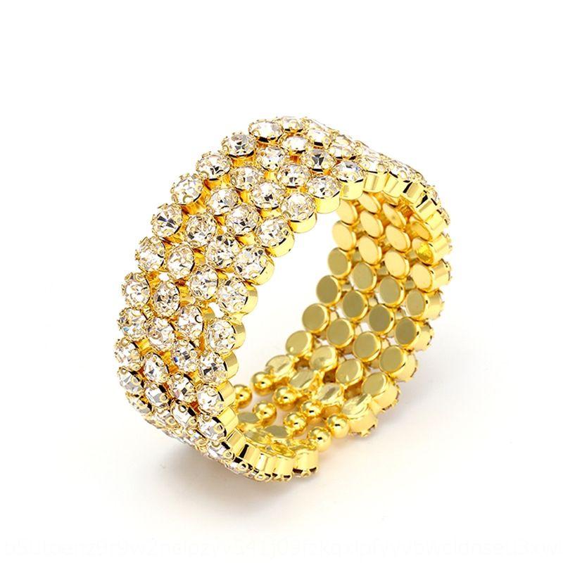 BZpb6 Quatre rangées de strass ouvert extensible mariée flash bracelet style coréen bracelet en cristal stretch diamant