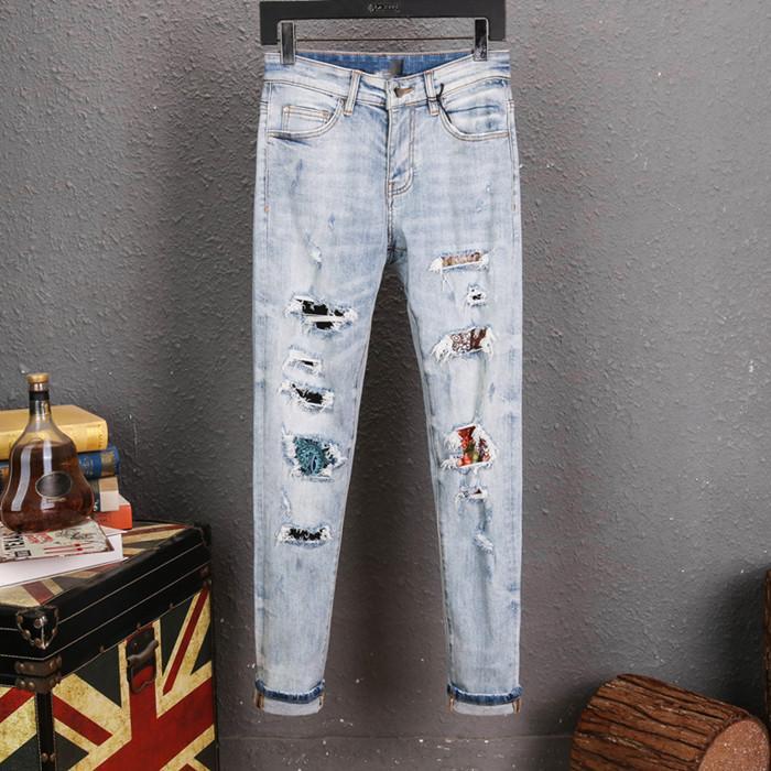 2020 Erkek Jeans Erkek Sıkıntılı Biker Jeans Slim Fit Biker Motosiklet Denim İçin Erkekler Moda yeni moda Kot Ripped Jeans