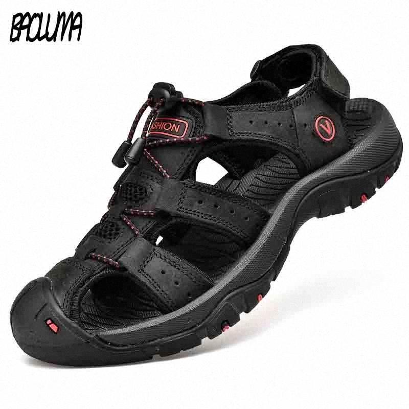 Klassische Herren-Sandalen Sommer weiche Sandalen bequeme Männer Schuhe echtes Leder Big Size Soft-Outdoor-Men Roman mx8Z #