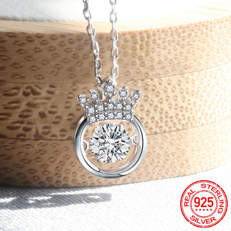 Real 925 Sterling Silver Minimalism Elegant Round Circle Clear CZ Pendant Necklaces Women Sterling Silver Fine Jewelry XN121
