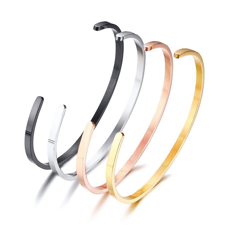 2020 nova Ampla casal de aço 3mm / 5 milímetros pulseira de titânio simples atmosfera presente senhoras românticas acessórios férias pulseira aberta