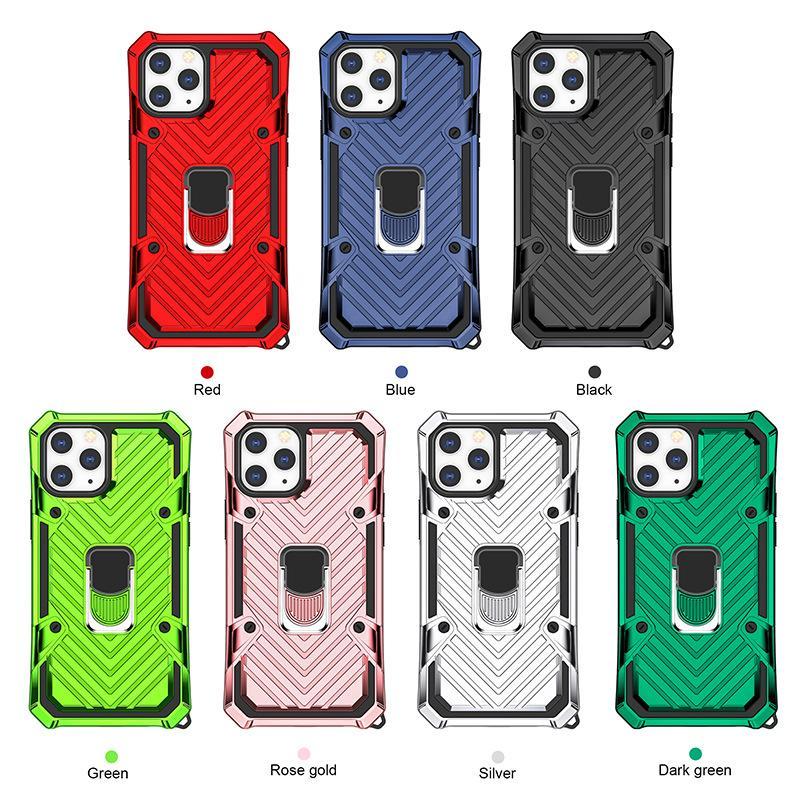 Rüstung Telefon-Kasten für iphone12 12pro 12proMAX 12max 11 11Pro 11PROMAX 2in1 PC TPU mit Ring-Standplatz-Halter 4 Ecken Stärkung anti-fallen