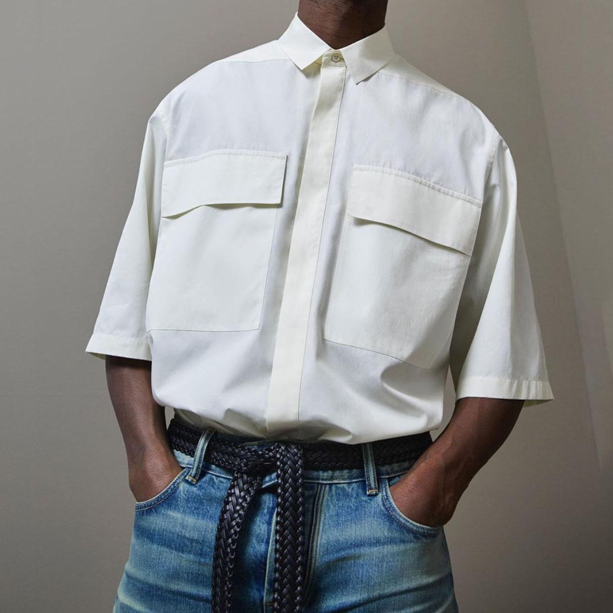 Nuova estate di modo Mens oversize grandi tasche Camicie Streetwear shirt mezza manica casuale