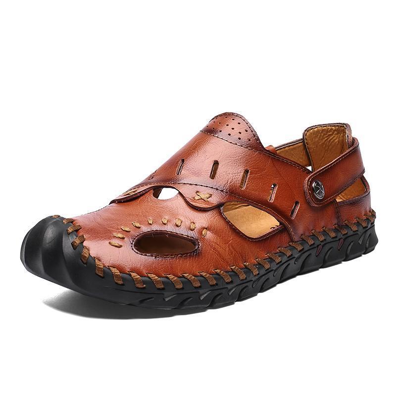 Neue Männer Sandalen Bequem Strand-Sommer-Sandalen aus Leder Männer römische Sommer Flip Flop Outdoor Wasser Trekking-Schuhe Große Größen-38-48