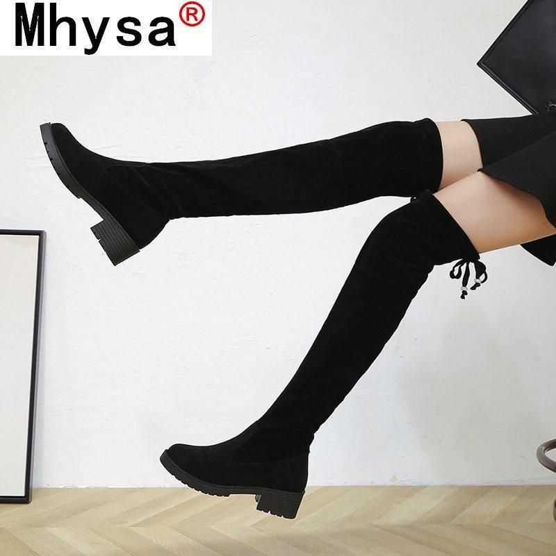 2020 mujeres botas por encima de los talones de la rodilla Casual muslo atractivo del resorte Mujer Del Invierno zapatos de punta redonda de alto tela elástico felpa