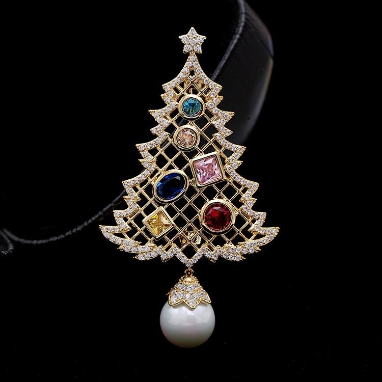 4kymU Sonbahar ve kış Yeni dizi mikro kakma Takı İnci İnci beyaz taş Noel ağacı, çam broş broş aksesuarları çift kullanımlı