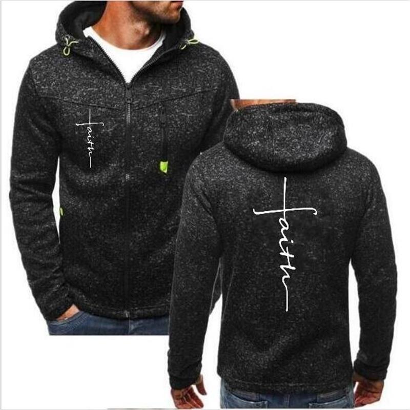 New Fashion Faith hommes et unisexe Hip Hop motif imprimé Sweat-shirt à capuche Zip Jacket Veste Top T200917