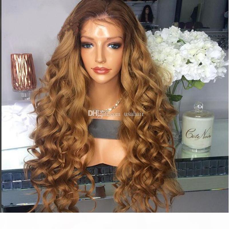 Gratuit Part Two Tone # 4 27 lâche onduleux de dentelle perruques de cheveux humains Glueless Lace Front Wigs Ombre perruques de cheveux humains