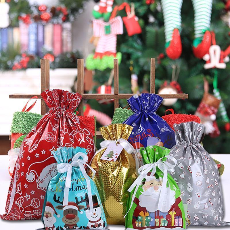 30pcs Gift Drawstring Bags Christmas Present Wrap Wedding Birthday Candy Bag Creative Christmas Pattern Style Gift Bag