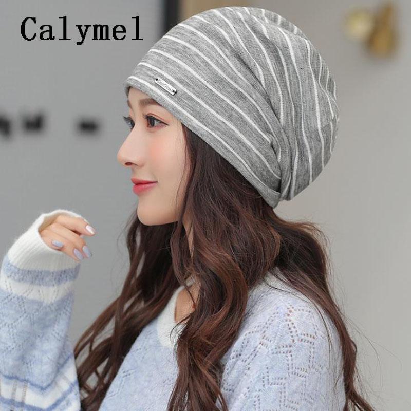 Calymel lavorato a maglia con cappuccio addensare Berretti 2020 cappello del cotone delle signore di modo di banda protezione calda nuova delle donne sveglie 5 colori Beanie all'ingrosso