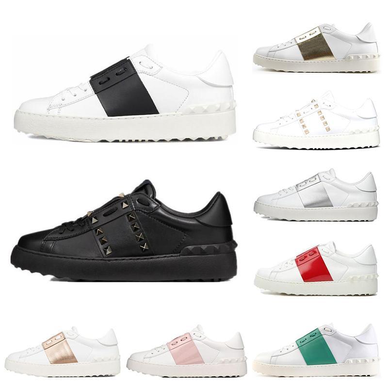 2020 패션 남성 여성 캐주얼 신발 화이트 블랙 여성 가죽 편안한 신발을 엽니 다 낮은 스포츠 스니커즈 크기 35-46