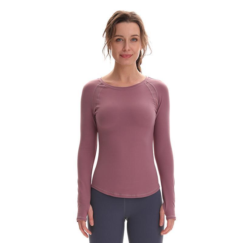 اليوغا قمم شبكة المرأة طويلة الأكمام خياطة حفرة مستديرة التعادل الإبهام عالية الجوارب المرنة تجريب تشغيل اللياقة البدنية اليوغا الصالة الرياضية ملابس النساء قمصان