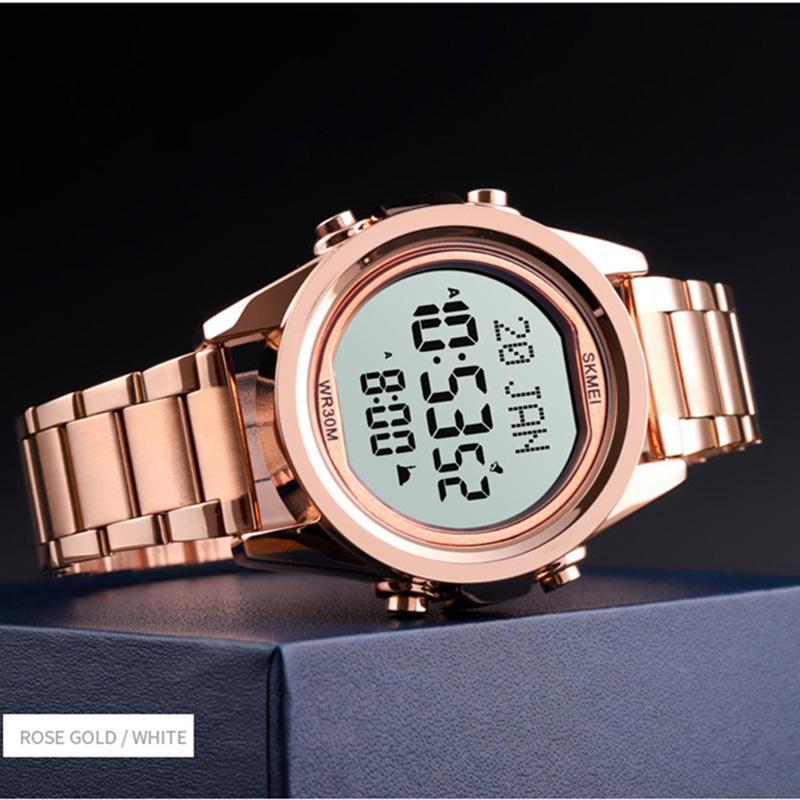 Цифровые часы Мужского Киблого Время Напоминание LED Часы из нержавеющей сталь для мужчин Электронной Молитвы SKMEI 2020 Часы