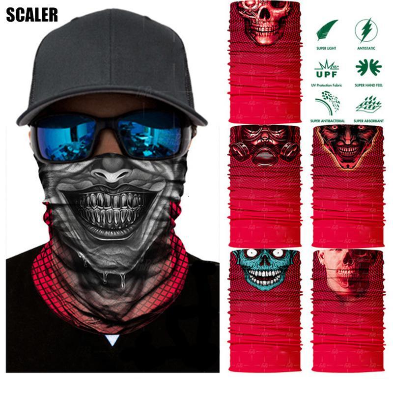 Tubo Red Skull 3D sin fisuras Bandana bufanda mágica Pesca comodines Esqueleto Aire libre pasamontañas Headwears Gancho de pescados Ciclismo diadema de esquí Bandana