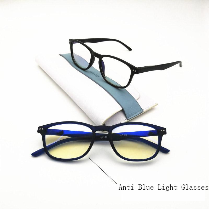 Ray Óculos Retângulo Moda Azul Diopter Vintage Anti Leitura FHBMH Homens Óculos Luz Computador Mulheres Vidro 0 ~ + 300 Presbyópico XWDTO