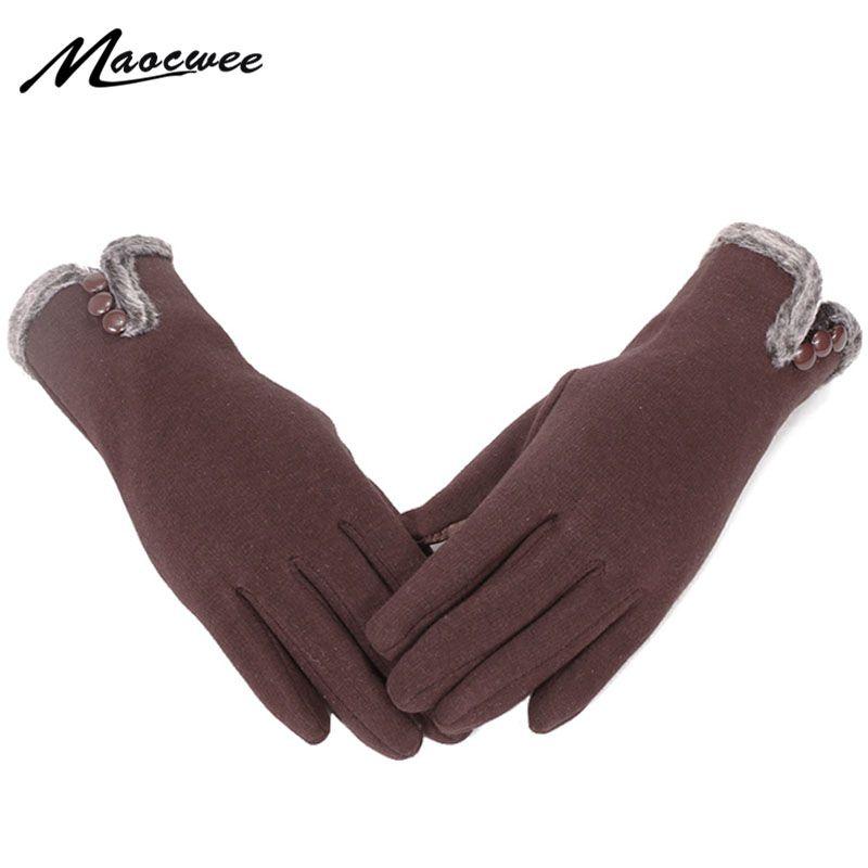 2020 Новая мода Женские перчатки Толстые Сенсорные перчатки экрана зима и осень Спорт на открытом воздухе Теплый Полный Finger Твердые искусственного меха Golves