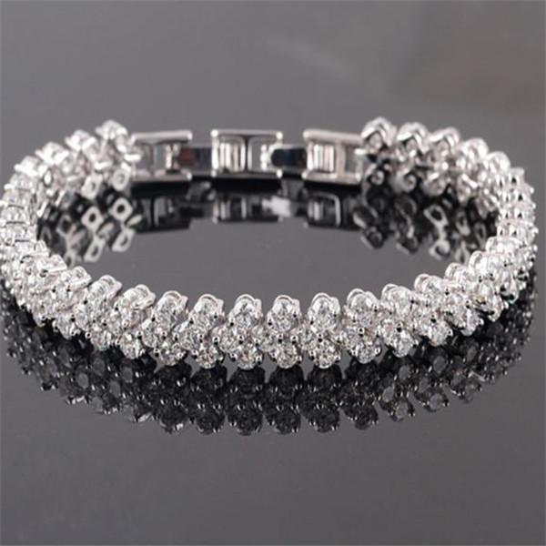 Luxus Glänzende Kristall Armbänder Echt 925 Sterling Silber Charms Armband Diamant Römische Tennis Link Armband Schmuck