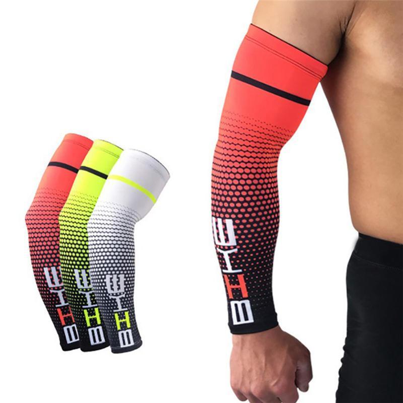 New 1 par fresco Men Ciclismo Correr de bicicleta UV Sun Proteção Cuff tampa do braço luva protetora bicicleta do esporte Arm Warmers mangas