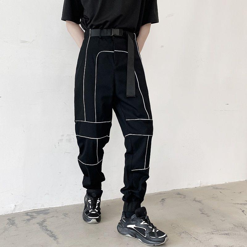 Hommes bande réfléchissante ceinture de pantalon de crayon Casual Male femmes Streetwear Hip Hop Harem Pantalon Couple Jogger Sweatpants Pantalon Regular