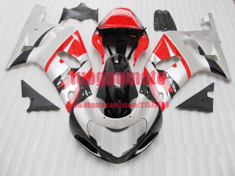 Regalos kits de cuerpo negro para inyección de tinta de plata de Suzuki GSX-R600 GSXR750 K1 GSXR600 GSXR 600 750 01 02 03 2001 2002 2003 carenado kit de carrocería