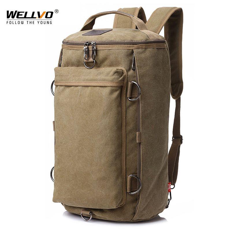 Vintage Men Travel Bag Large Capacity Travel Duffle Rucksack Male Carry on Luggage Storage Bucket Shoulder Bags for Trip XA86ZC 200921