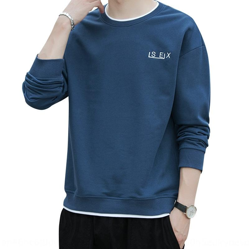 sports sweater men's round neck long sleeve autumn Korean style trendy student loose sports Clothing shirt thin base shirt men's clothing e