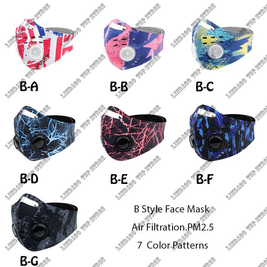 Máscaras esporte ao ar livre Homens Mulheres Anti-poeira Máscara Gota facial com filtro para dar um ciclo New máscara facial ativado Anti-Poluição Proteção