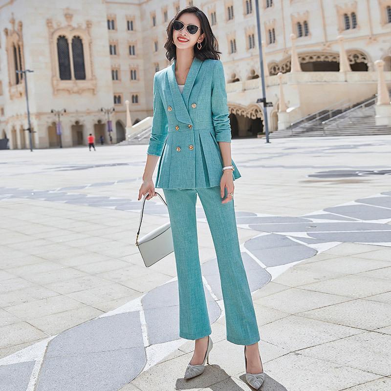 La alta calidad más tamaño pantalones de traje femenino de las mujeres de dos piezas traje de otoño y la nueva mitad de la longitud de la chaqueta de las mujeres elegantes pantalones de invierno