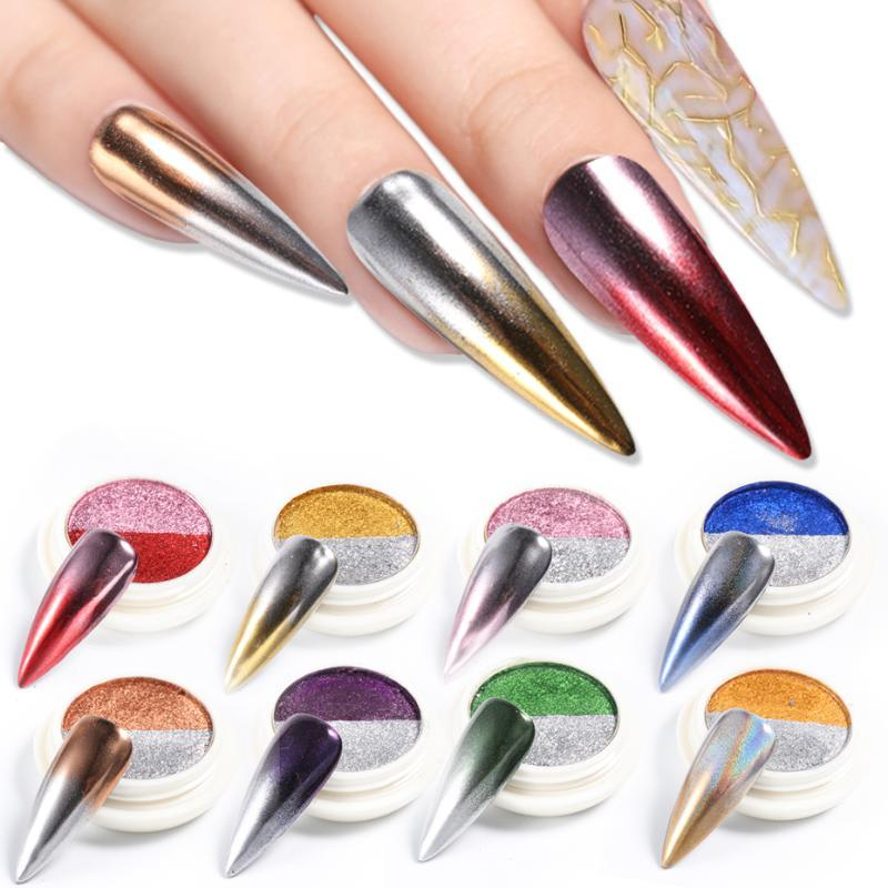 8pcs espelho prego brilho dupla Laser cor das unhas brilho do metal Art Pó Brilho Rub polaca Decoração Para Manicure LESE01-08-1
