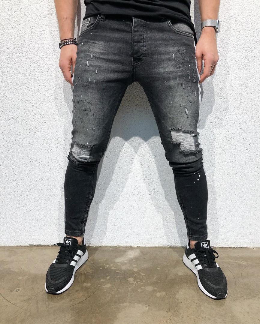Siyah Sıkıntılı Slim Fit Jeans Uzun Skinny Sokak Pantolon Mens 19ss Tasarımcı Jean pantolon Ripped