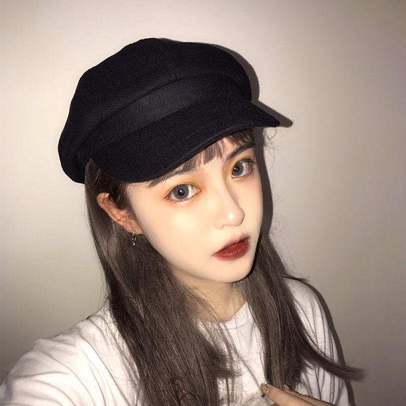primavera y el verano de las mujeres UcFu2 algodón y lino transpirable boina de Corea del sombrero de la manera del sombrero octogonal octogonal bre de moda de celebridades de internet
