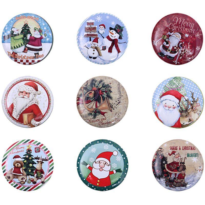 Decoração de Natal Bag Gift Box New animados Tinplate Natal de Santa Snowman Elk Gift Bag Crianças Xmas presente Coin Purse Key Headset Armazenamento