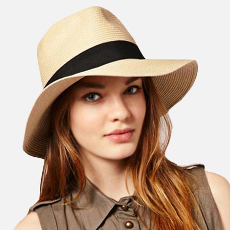 2020 uomini estate donne di modo Toquilla del cappello di paglia di Sun elegante Big larga del bordo del cappello di Panama regina Fedora Beach Cap