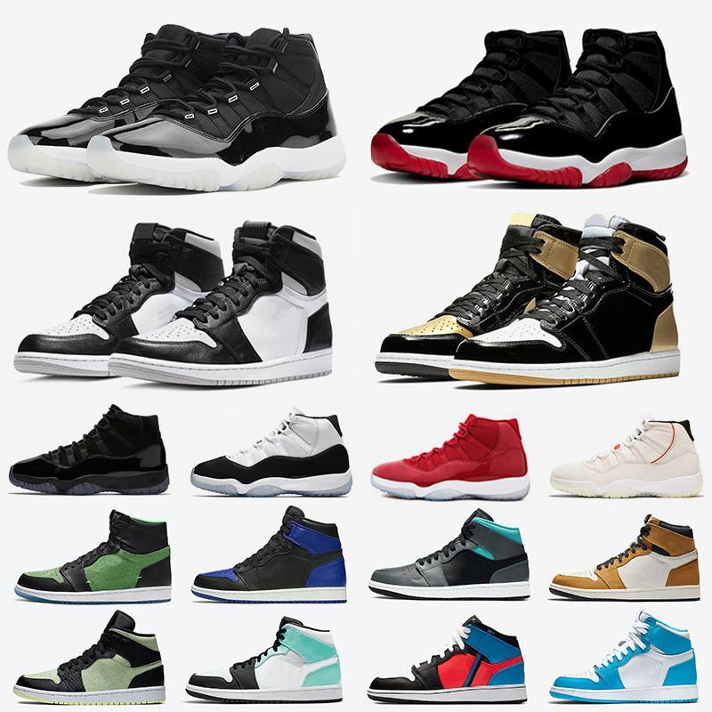 11 retro 1 25e anniversaire jumpman 1 chaussures de basket-ball pour hommes 11s bred interdit 1s concord 45 cactus jack bout noir hommes femmes  baskets de sport