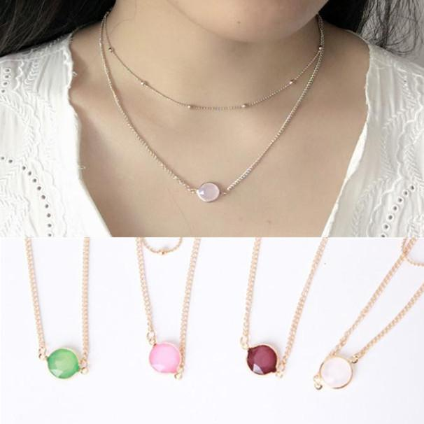 Necklace Jewelry Gold Gemstone Round Pendants Double layer Chocker Necklace Pink White Green Healing Crystals Necklace for Women Girls