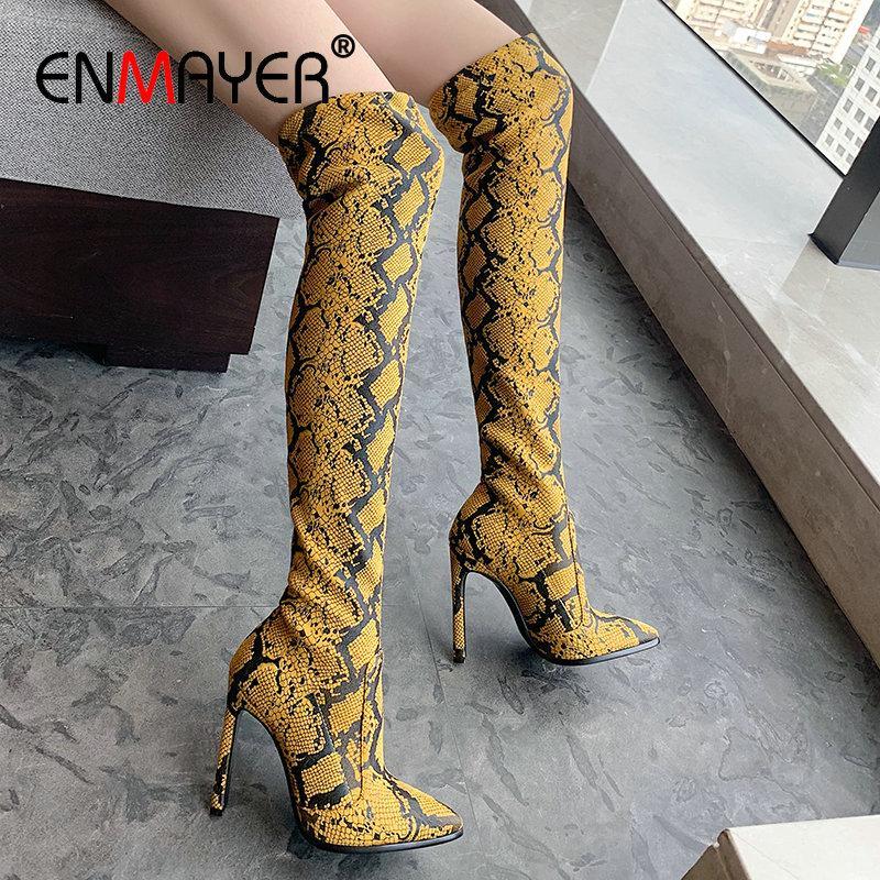 ENMAYER 2020 mujeres del tamaño del Slip-On punta estrecha Impresiones animales gamuza sintética delgada Botas sobre la rodilla botas de fino tacón Zapatos de invierno 34-43