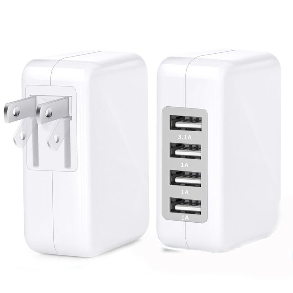 3.1A 15W High Speed 4 Port USB Wall Charger Portable Travel Charger Power Adapter with Folding Plug for all smart phone