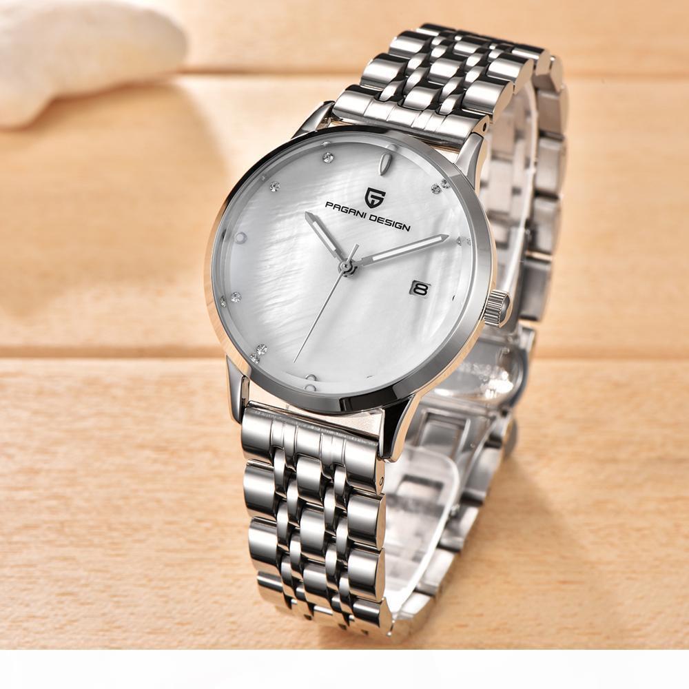 Acero PAGANI diseño de marca Señora inoxidable de la manera del reloj del cuarzo de las mujeres de línea cáscara impermeable de lujo vestido de relojes Relogio Femenino