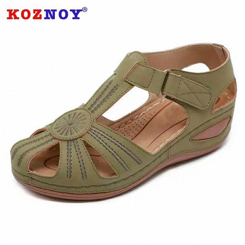 Koznoy Kadınlar Yaz Sandalet 2020 Moda Kanca Loop Aç Nefes takozları Düşük Topuk Yuvarlak Burun Kalın Alt Leisure Kadın Ayakkabı Platformu s9Dv #