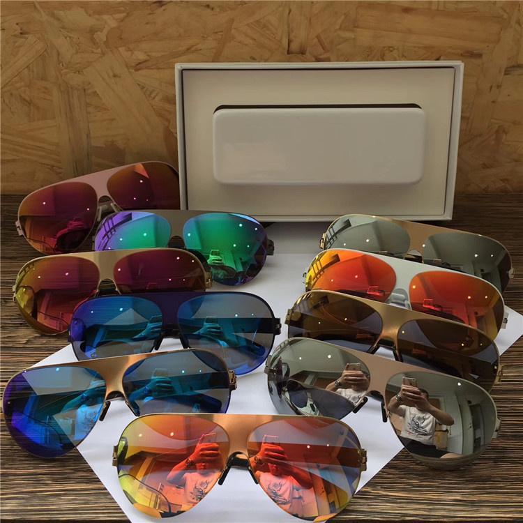 Nuevo marco MYKITA FRANZ gafas de sol grandes del marco Diseñador piloto con espejo lente ultra ligero marco de aleación de memoria de sol con la caja original