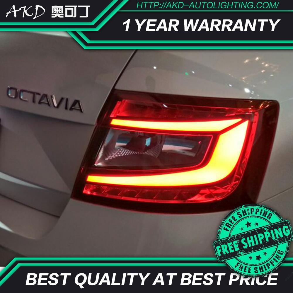 AKD car cars Tail lights For skoda octavia Taillights 2015 2016 2017 12V LED Taillight Rear Lamp