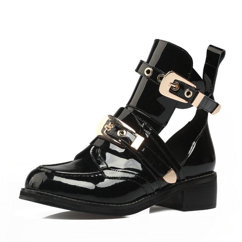 Hot Sale-Punk Sapatinho Buckle Straps Grosso Heel Preto Botas Cut Out Mulher Botas Moto Marca Designers Rodada Toe sapatos de verão