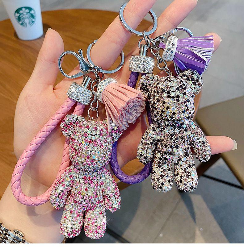 Творческий мультфильм полный алмаз медведь кисточка автомобиль брелок кулон милый мужчина и женская сумка цепь ключа милый подарок рождественский подарок