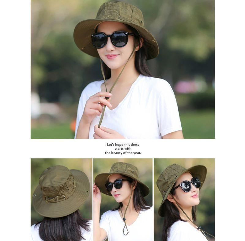 Women Men Summer Fishing Bonnie Hat UV Protection Wide Brim Solid Color Foldable Camping Hiking Travel Beach Cap With Chin Strap