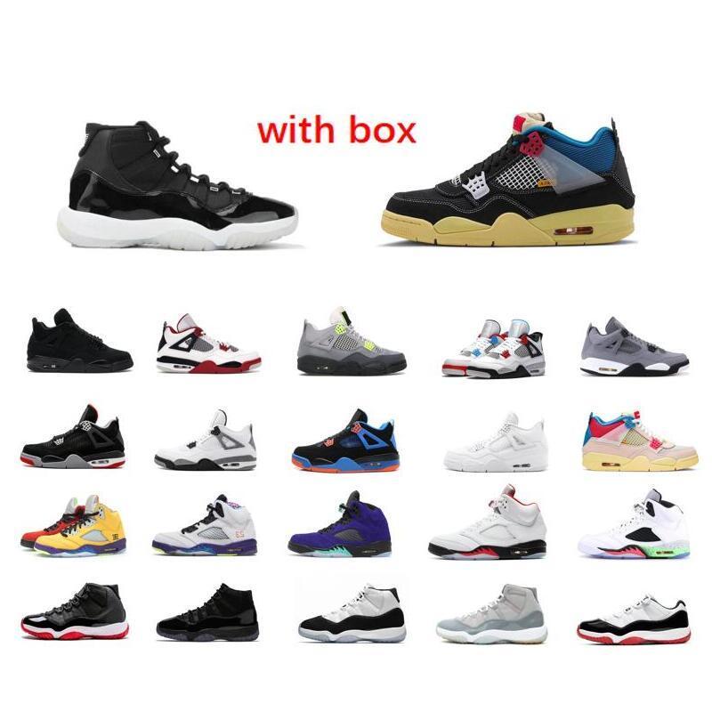 11S 11 25e anniversaire de basket-ball Chaussures de 5 Black Cat Tongue Rouge 5S Argent Feu 11 Space Jam Low Blanc Bred Entraîneur Sneaker