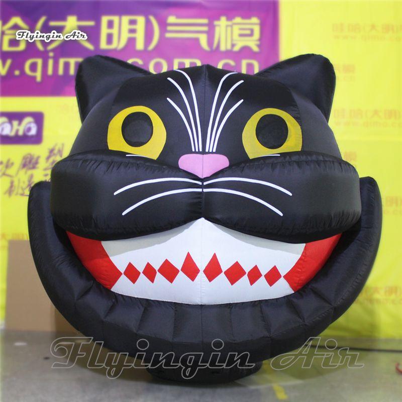 2m Height Decorative Vivid Black Inflatable Halloween Cat Head for Halloween Decoration